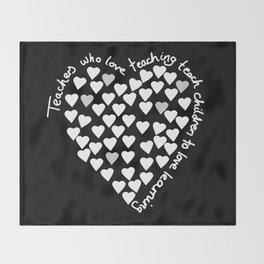 Hearts Heart Teacher White on Black Throw Blanket