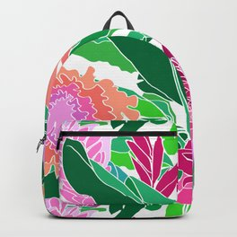 Bird of Paradise + Ginger Tropical Floral in White Backpack