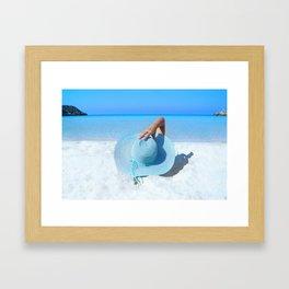 Woman On Beach Framed Art Print