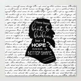 Into a Better Shape - Dickens (B&W Large) Canvas Print