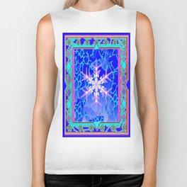 Blue Frozen Snowflake Abstract Art Biker Tank