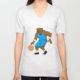 Bulldog Basketball Player Dribble Cartoon Unisex V-Neck