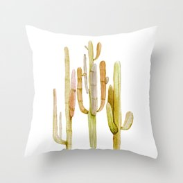 Minimalist Cactus Drawing Watercolor Painting Southwestern Green Cacti Throw Pillow