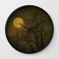 dark side of the moon Wall Clocks featuring Dark Side by RDelean