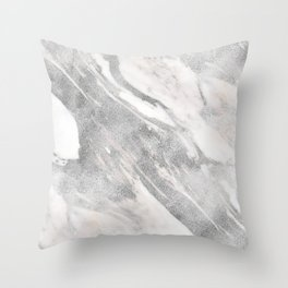 Castello silver marble Throw Pillow