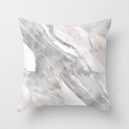 Castello silver marble Throw Pillow