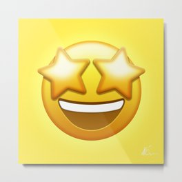 Star-Struck Emoji | Pop Art Metal Print