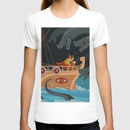 odysseus fighting Scylla and Charybdis Greek mythology monsters T-shirt
