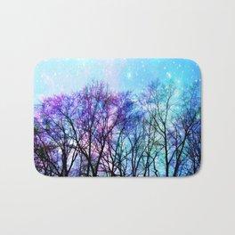 Black Trees Playful Pastels Space Bath Mat