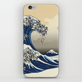 The Great Wave of Pugs Vanilla Sky iPhone Skin
