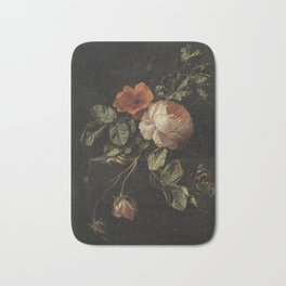 Elias van den Broeck - Still life with roses - 1670-1708 Bath Mat
