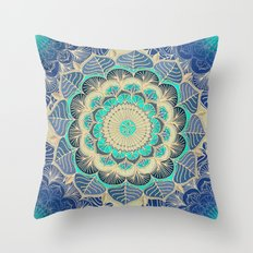 Midnight Bloom - detailed floral doodle in gold, navy blue & mint Throw Pillow