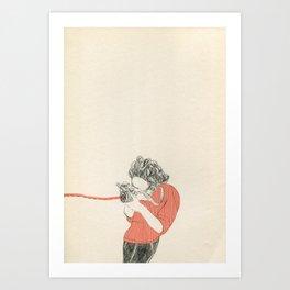 Shoot! in red Art Print
