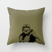 master chief Throw Pillows featuring Master Chief by Anthony Bellus