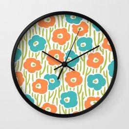 Mid Century Modern Wild Flowers Turquoise and Orange 391 Wall Clock