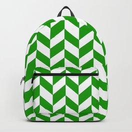 Herringbone Texture (Green & White) Backpack