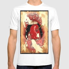 Red Cherry Lips MEDIUM White Mens Fitted Tee