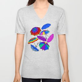 Umbrellas Blowing In The Wind Unisex V-Neck