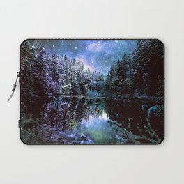 A Cold Winters Night : Violet Teal Green Winter Wonderland Laptop Sleeve
