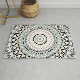 Black and Pastel Mandala Rug