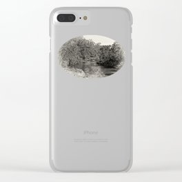 Black and white study of a tranquil river Clear iPhone Case