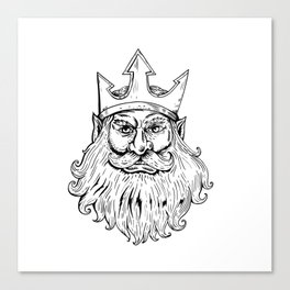 Poseidon Wearing Trident Crown Woodcut Canvas Print