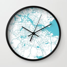 Amsterdam White on Turquoise Street Map Wall Clock