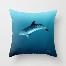"""Blackfin the Dolphin"" by Amber Marine ~ Digital Art, (Copyright 2014) Throw Pillow"