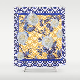 BLUE-ORANGE WHITE ROSES ORIENTAL STYLE  ABSTRACT Shower Curtain