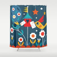letters Shower Curtains featuring Love Letters by Shirley Copperwhite