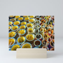 Mate Cups on Sale at Fair Street, Montevideo, Uruguay Mini Art Print