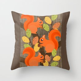 Three Squirrels In A Tree Throw Pillow