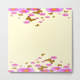 SCATTERED  PINK WILD ROSES  MONARCH BUTTERFLIES Metal Print