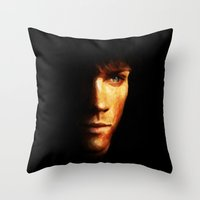 sam winchester Throw Pillows featuring Sam Winchester / Supernatural - Painting Style by ElvisTR