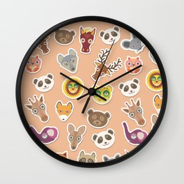 Set of funny animals muzzle seamless pattern. pink peach background. Vector Wall Clock