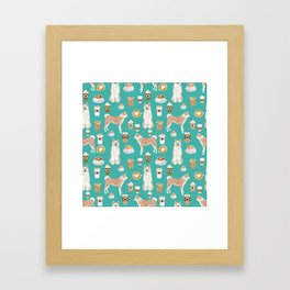 Akita coffee pattern akitas dog breed pet portrait by pet friendly turquoise Framed Art Print