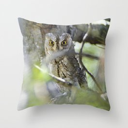 Small scops owl. Misteries of the forest Throw Pillow