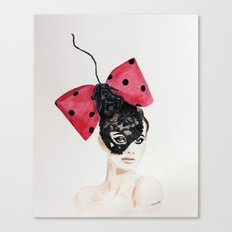 Debry Hat. Black Lace Head Piece. Canvas Print
