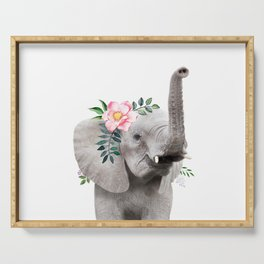 Baby Elephant with Flower Crown Serving Tray