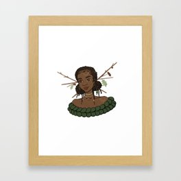 Autumn Oak Goddess • Black Girl Magic in Fall Colors Framed Art Print