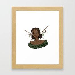 Autumn Oak Goddess • Black Girl Magic in Fall Colors Framed Art Print
