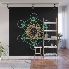 Metatron's Cube- Rainbow on Black Wall Mural