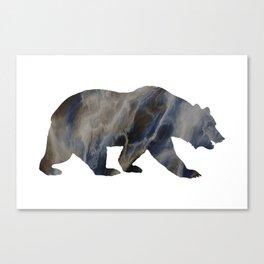 Marble Bear Silhouette Canvas Print