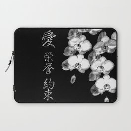Japanese Orchids in Black Laptop Sleeve