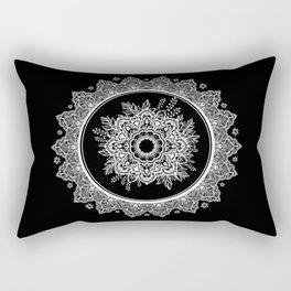 Bohemian Lace Paisley Mandala White on Black Rectangular Pillow