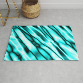 Shiny metal crooked mirror with light blue reflective diagonal stripes. Rug