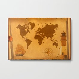 World Map nostalgic Metal Print