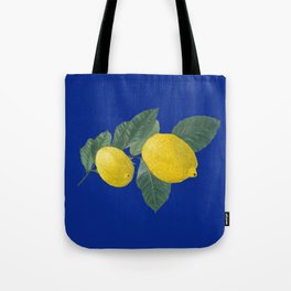 Oil painting of a lemon tree branch with two lemons, isolated on blue background Tote Bag