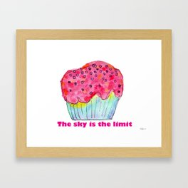The Sky Is The Limit inspirational typography positive quote cake illustration watercolor painting Framed Art Print