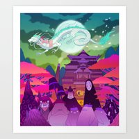 spirited away Art Prints featuring Spirited Away by Jen Bartel